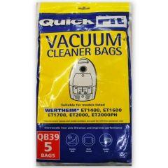 Wertheim ET1400, ET1600, ET1700, ET2000 Quickfit QB39 Vacuum Cleaner Bags (32440058)