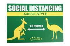 Social Distancing Wall Sign - Double Sided - Gold and Blue (SIGN-SD4) - Vacuum Spot