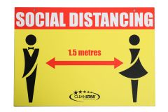 Social Distancing Wall Sign - Double Sided - Male and Female (SIGN-SD3) - Vacuum Spot