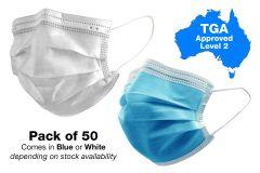 Surgical Face Masks - Level 2 TGA Approved - Pack of 50 (MASK50-L2)