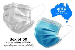 Surgical Face Masks - ARTG Listed Level 2 - 3 Layer - Box of 50 (MASK50-L2)