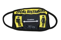 Social Distancing Cloth Face Mask - Black and Yellow (MASKC-BLKYEL)