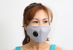Cloth Face Mask with Vent and Filter - Grey (MASKC-GVENT) - Vacuum Spot