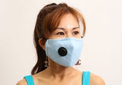 Cloth Face Mask with Vent and Filter - Light Blue (MASKC-LBVENT) - Vacuum Spot