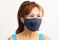 Cloth Face Mask with Vent and Filter - Navy Blue (MASKC-NVENT) - Vacuum Spot