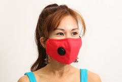 Cloth Face Mask with Vent and Filter - Red (MASKC-RVENT) - Vacuum Spot
