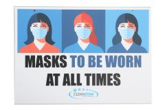 Social Distancing Wall Sign - Double Sided - Face Mask (SIGN-SD6) - Vacuum Spot