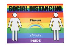 Social Distancing Wall Sign - Double Sided - Pride (SIGN-SD5) - Female