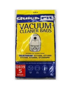Wertheim ET1400, ET1600, ET1700, ET2000 Vacuum Bags (QB39) AVAILABLE FROM 31 OCTOBER 2019